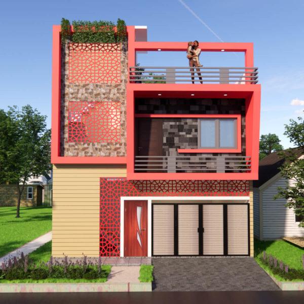 25x30 Feet House Design Ground Floor Parking