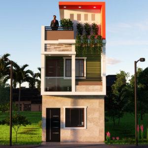 13x35 Feet Morden Small Space House Plan