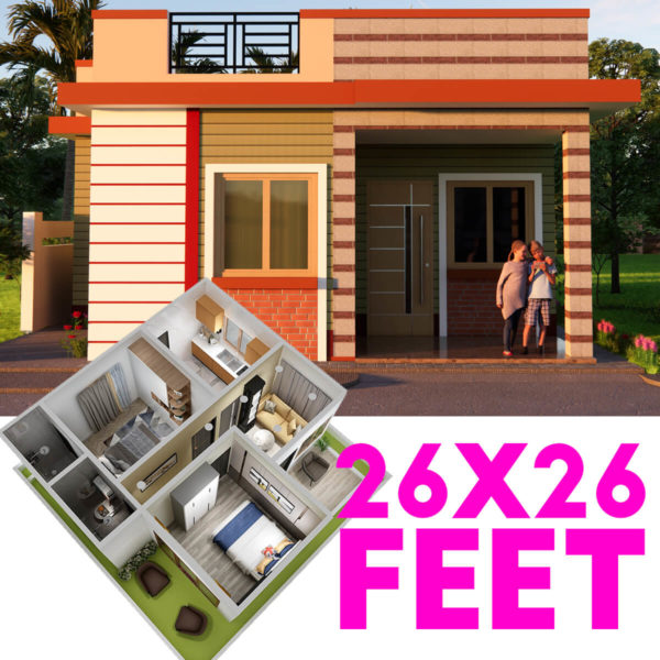 Small Space House Design Indian Colony House Size 26x26 Feet